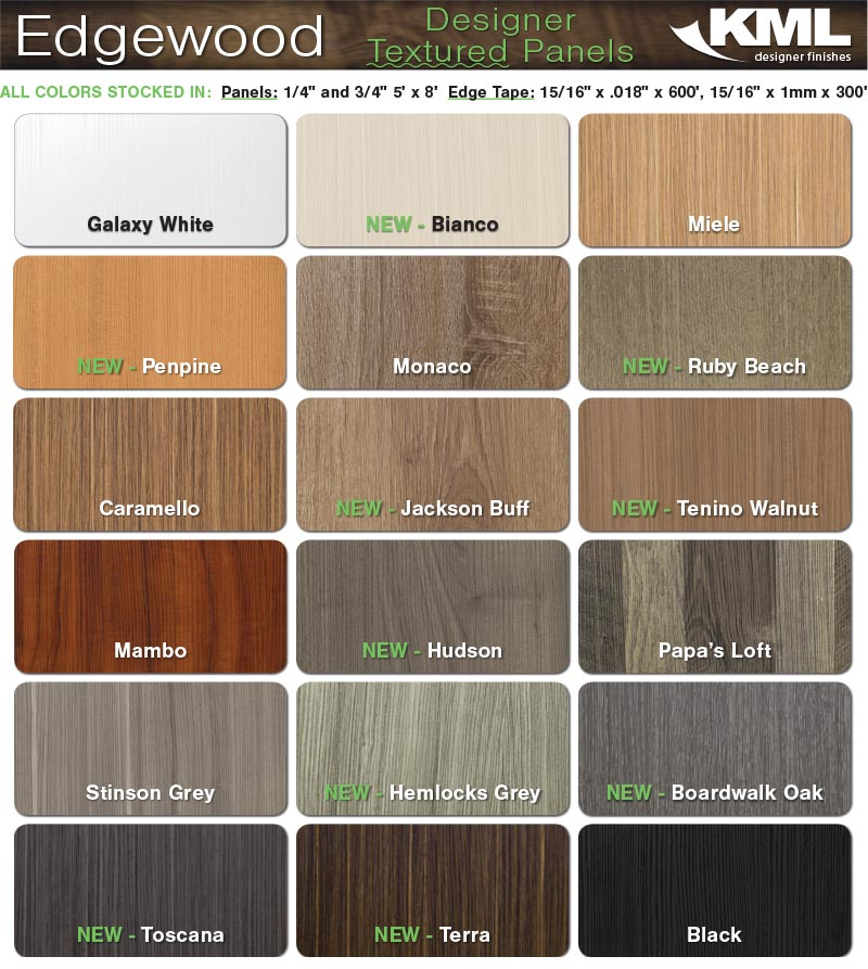 Hardwood Industries is now stocking KML Edgewood Designer Textured Panels in the following pictured sizes, thicknesses, and colors..