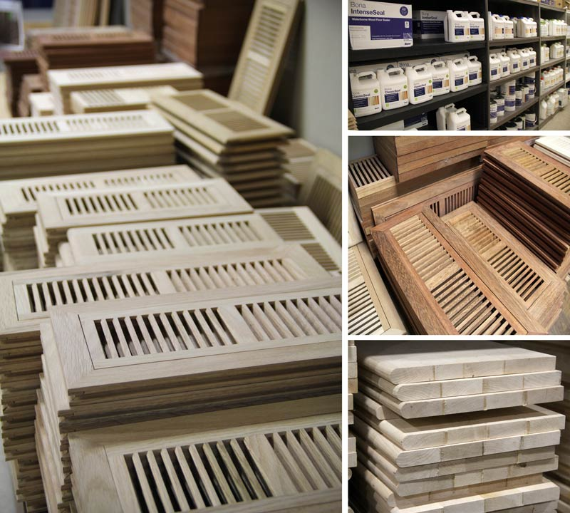 Hardwood floor vents, stair treads, stair risers, and Bona floor products.